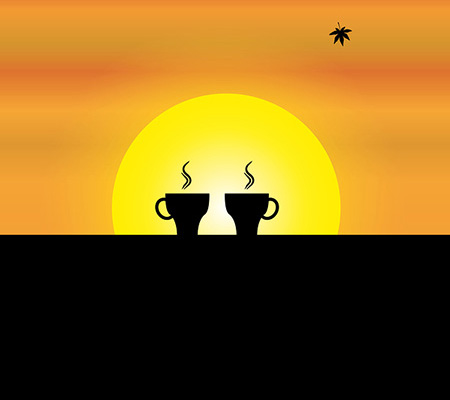 two fresh hot cups of coffee kept on the wall of a balcony with orange sky and yellow sun in the background - concept sunrise illustration art